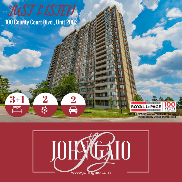 JUST LISTED - 100 County Crt, Unit 2003